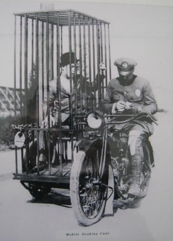 1920s: Harley Davidson Mobile Booking Cage