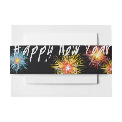 #Happy New Year Firework Invitation Belly Band - #Invitation #Belly #Bands #Bellybands