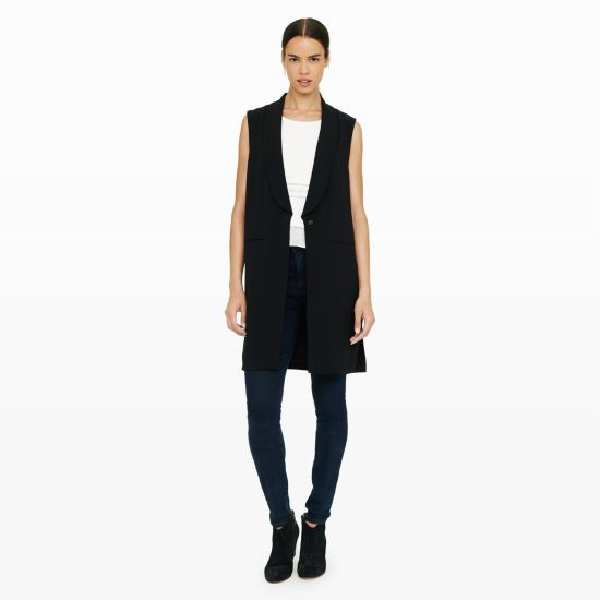 "Combining clean lines with a classic silhouette, the Sonti is a long and lean vest that is primed for polish with a hint of drama. High side slits lend a slightly avant-garde feel. Viscose blend Straight fit 35 ½"" in length from high point of shoulder Exaggerated lapel; single-button front; welt pockets at front; split at side seams Fully lined Dry clean Imported"
