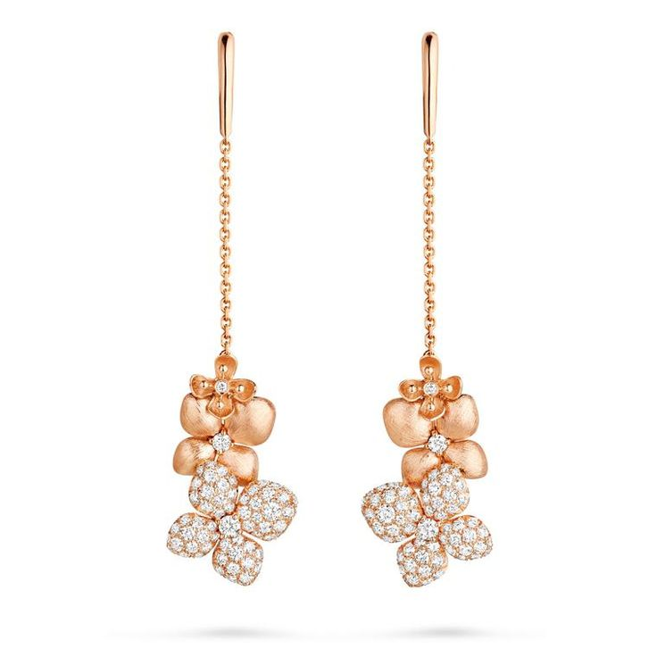 Chaumet brushed rose gold and diamond Hortensia earrings. http://www.thejewelleryeditor.com/shop/product/chaumet-hortensia-turquoise-earrings/?current_section=jewellery #jewelry