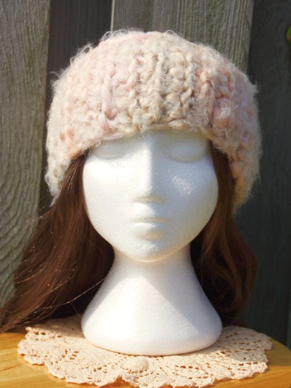 This super cozy crocheted fuzzy pink headband is the cutest accessory for winter and fall  it  a is the perfect handmade  a gift for anyone in your life. Find it here:  https/ca/listing/480203723/sale-super-cozy-pink-and-cream-crochet