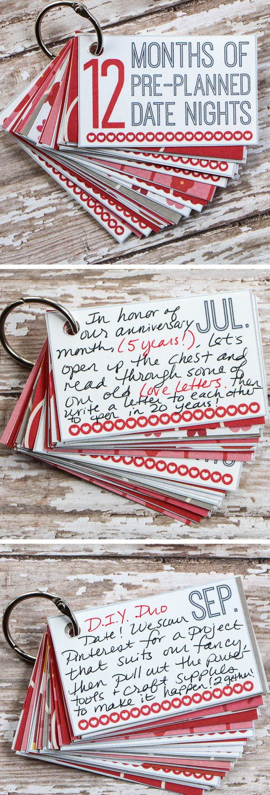 12 Months of Date Nights Gift | Click Pic for 44 DIY Valentine Gifts for Him | DIY Valentine Gifts for Boyfriend