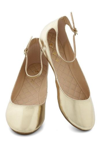 Dessert Dash Flat in Gold - Flat, Faux Leather, Gold, Solid, Party, Holiday Party, Good