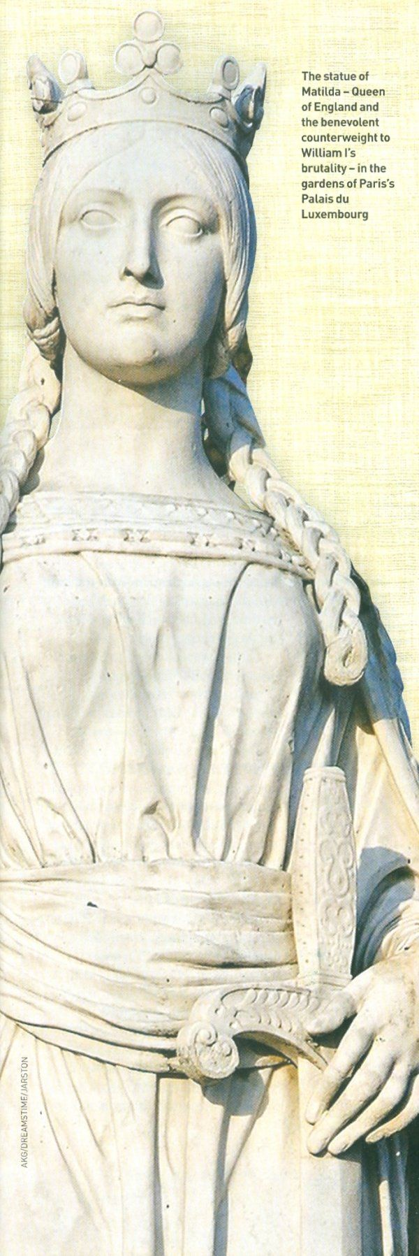 Statue of Matilda of Flanders - Queen Consort of England and wife of William the Conqueror in the Luxembourg Gardens in Paris, France. http://www.travellinghistorian.com/conquerp3m.jpg