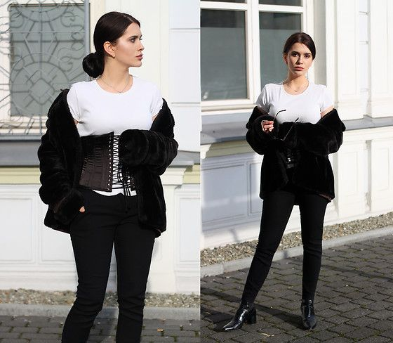 Get this look: http://lb.nu/look/8629235  More looks by Justyna Lis: http://lb.nu/justynalis  Items in this look:  Marks & Spencer White T Shirt, New Look Black Pants, Zara Leather Boots, Black Corset, Zara Black Fur   #chic #minimal #street #shirt #whiteshirt #whitetshirt #holiday #minimalism #glamour