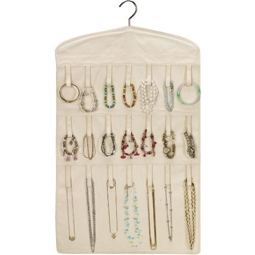 http://103rdavenue.com/household-essentials-bracelet-and-necklace-hanging-jewelry-organizer-natural-canvas/ This is a hanging jewelry organizer from Household Essentials that allows easy organization, visibility, and access of jewelry. It hangs from any hanger bar or hook in the closet and can hold up to 21 necklaces and 14 bracelets. Jewelry can be stored on either side. It is a cotton material in natural color. It measures 32 Inches long x 18 I...