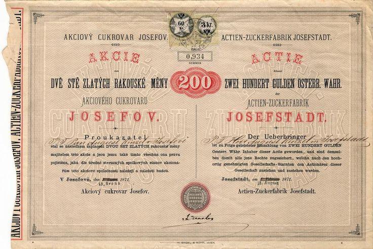 Akciový cukrovar Josefov (Actien-Zuckerfabrik Josefstadt). Akcie na 200 Zlatých.  Josefov (Josefstadt) dnes Jaroměř-Josefov, 1871.