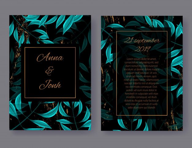 Wedding Invitation Card Front And Back View Floral Invite Design With Green Tropical Palm Leaves Floral Invitation Invitation Design Wedding Invitation Cards