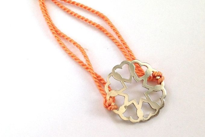 Coral Heart Silk Bracelet by emma anne