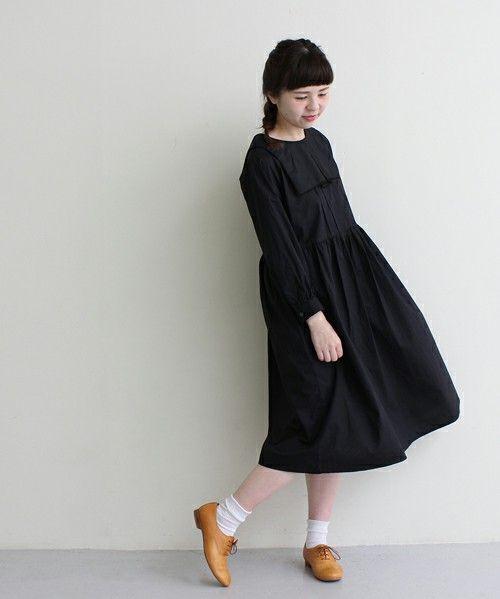 fig London(フィグロンドン)の60タイプライター スクエアプリーツ衿 ワンピース(Tシャツ/カットソー)|ブラック
