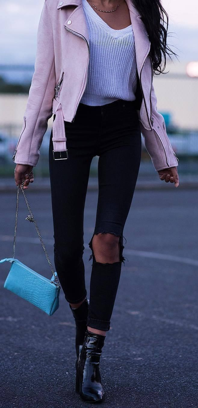 fashionable outfit idea: jacket + top + rips + heels + bag