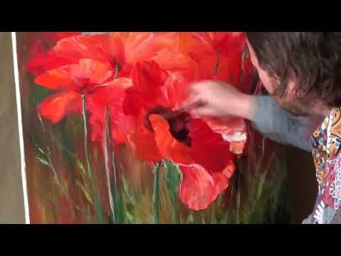 Artist Igor Sakharov.Draw the poppies, a unique technique