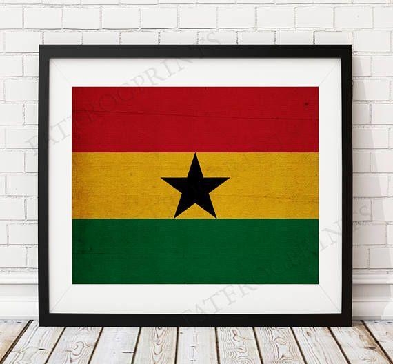 Ghana Flag Print- https://www.etsy.com/listing/535764775/ghana-flag-print-ghana-flag-art-ghana?ref=shop_home_active_12 - Ghana Flag Art, Ghana Gifts, Flag Poster