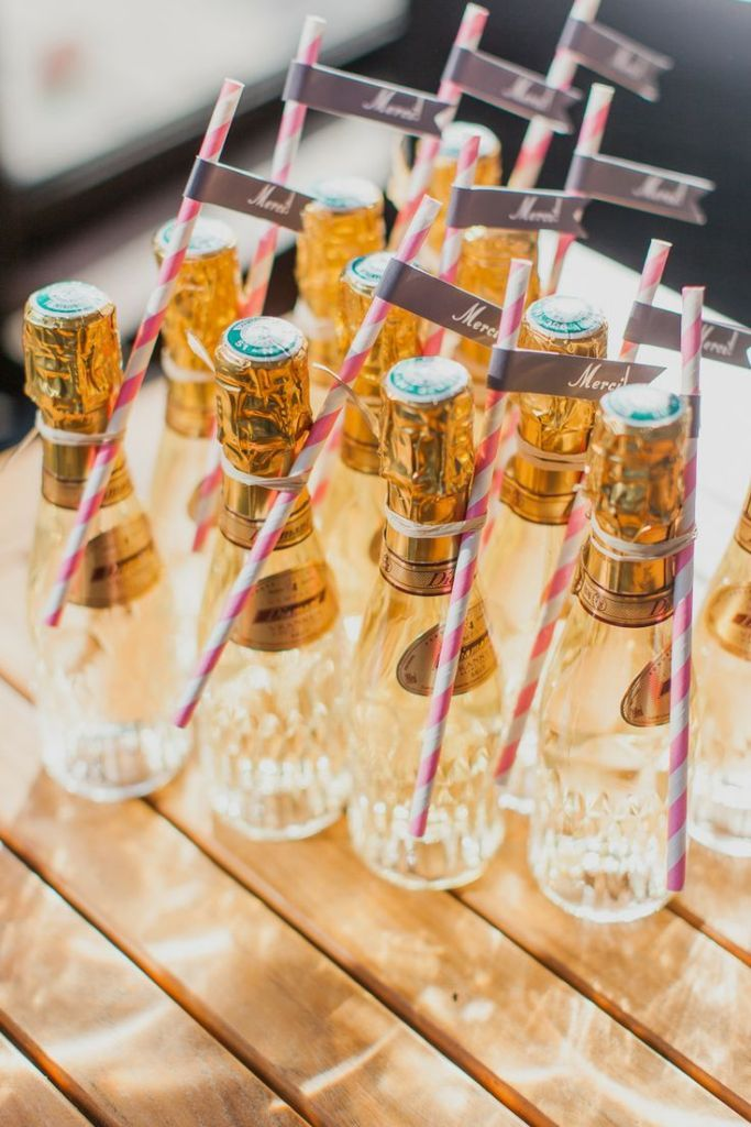 Miniature champagne wedding favor