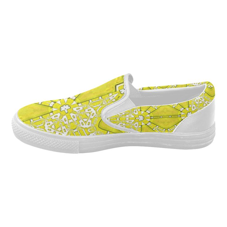 Canvas shoes with yellow shine-annabellerockz Custom Slip-on Canvas Shoes for Women Model019