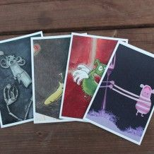 Post cards / cards for greetings with drawings of monsters and other creatures  Tegnede kort med monstre og andre vesen fra Søstrene Miljeteig