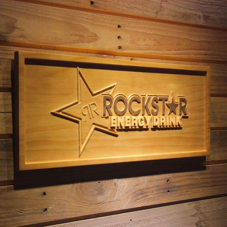 Rockstar Energy Drink Bar 3D Wooden Sign