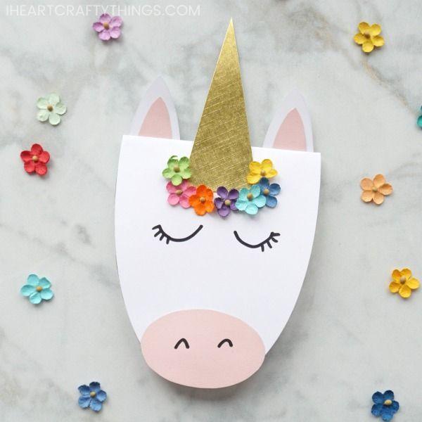 How To Make A Simple Diy Unicorn Card Unicorn Birthday Cards Diy Unicorn Birthday Card Unicorn Card