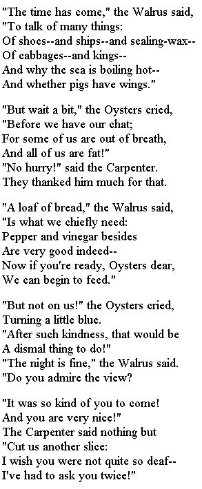 The Walrus and The Carpenter  Lewis Carroll #poetry http://annabelchaffer.com/