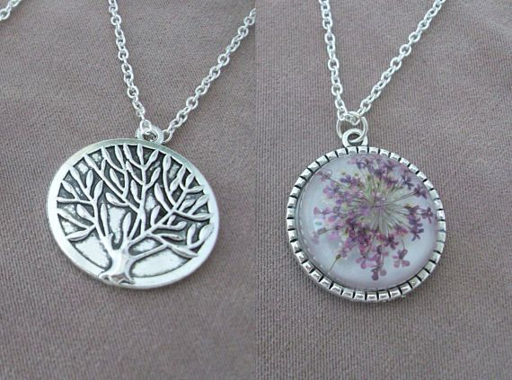 New two-sided Pendant with the Tree of Life and Real Flowers Queen Anne's Lace