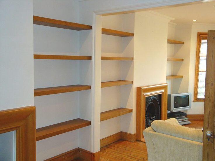 real wood shelving for living room