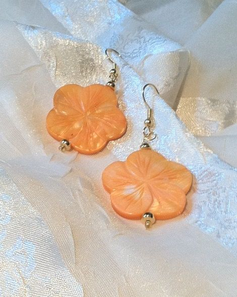 Sunny Peach Blossom Earrings in Carved Mother of Pearl by NorthCoastCottage Jewelry Design & Vintage Treasures on Etsy.com, $39.00