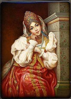 Russian Art: By the Stove  Artist: Koroleova Yelena  Size (inches): 4.5x6x2  Price: 1350