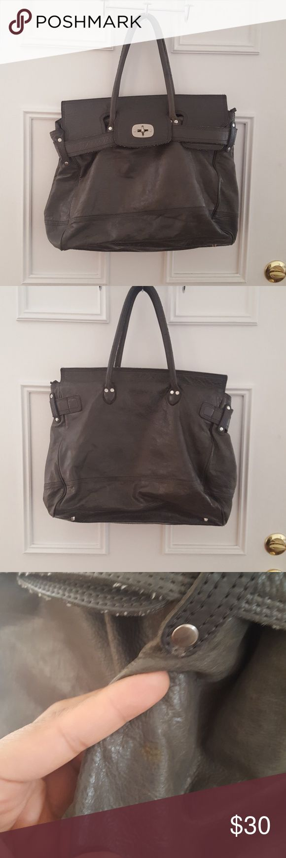 Liebeskind Oversize Gray Leather Handbag Oversize bag up for sale! This bag has so much character. I got many compliments on it. Signs of wear  (pictured) but overall still a beautiful piece. Also it can fit laptops and textbooks or can be a great weekender cause of its size. Liebeskind Bags Shoulder Bags