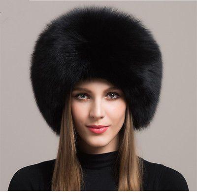 f929438d37355 Women Real Black Fox Fur Hat Russian Winter Warmer Ear Cap Ushanka Cossack  Ski