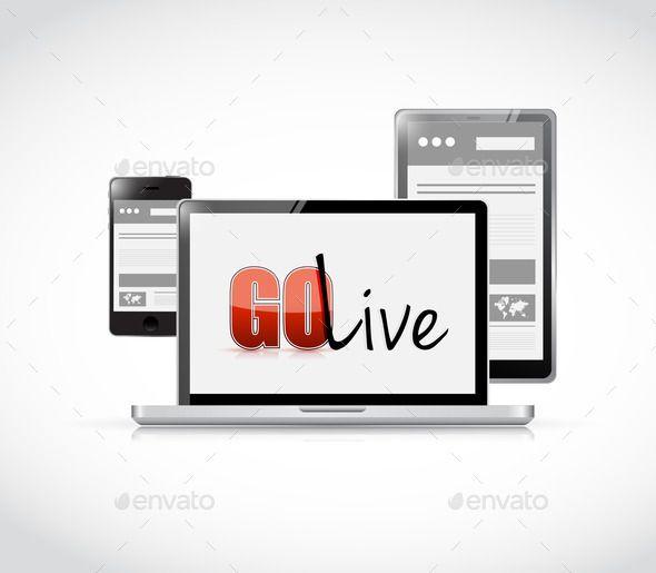 go live website responsive electronics - Stock Photo - Images