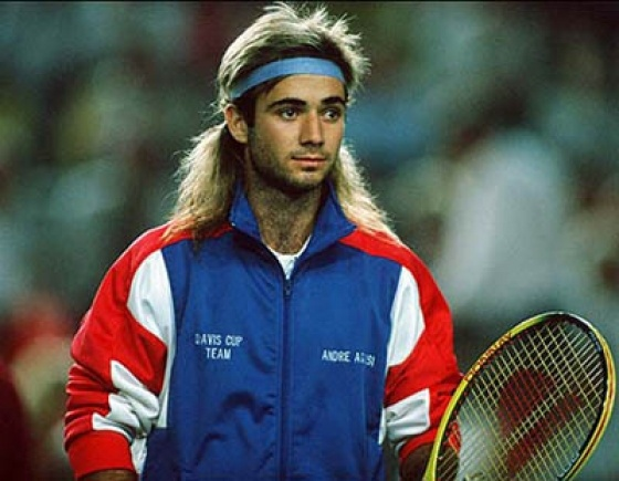 Andre Agassi with that hair