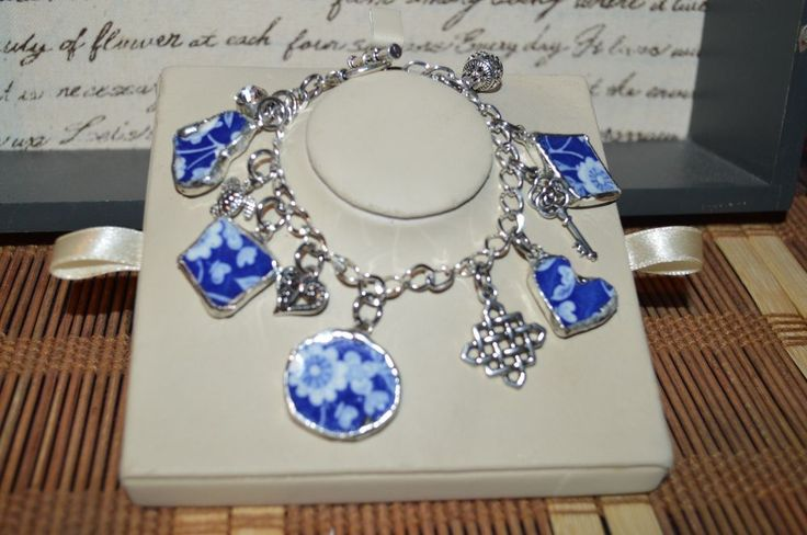 Recycled Broken English China, Chunky Charm Bracelet Blue w/ White Floral  #Handmade #Floral