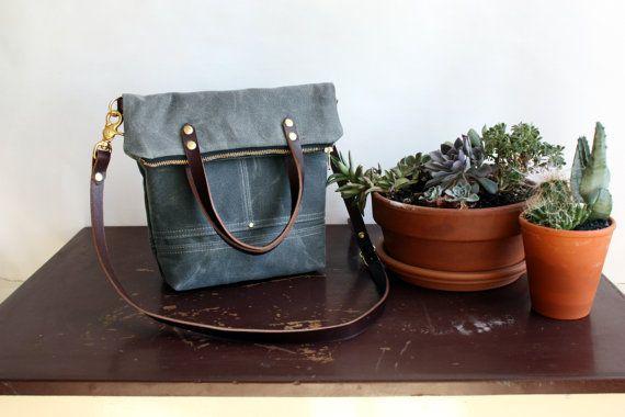 Pisgah Mini Fold-Over Purse in Cement / Waxed Canvas Tote Bag / Zipper Purse / Crossbody Bag / Foldover Bag
