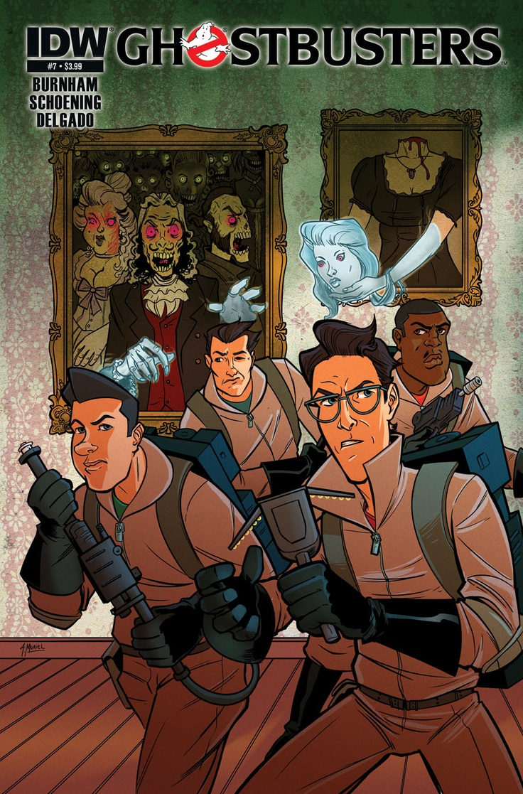 "Ghostbusters #7   Erik Burnham (w) • Evan ""Doc"" Shaner (a) Dan Schoening, Alberto Muriel (c)   While Egon Spengler and Roger Baugh are on their journey into the mind of Melnitz, we pick up with Venkman, Stantz, and Kylie Griffin off the eastern coast of Long Island, where they seek out a spectral ship that first sank sometime in the 1860s! And where is Winston in all this? VEGAS, BABY!    FC • 32 pages • $3.99"