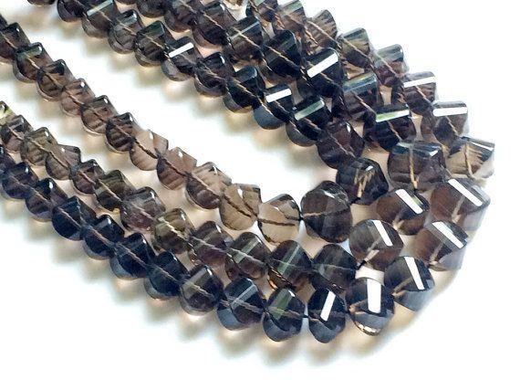Smoky Quartz Beads Smoky Quartz Twisted Nuggets by gemsforjewels