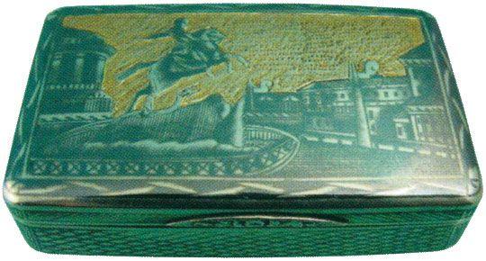 Портсигар украшенный изображением памятника Петру I Конец XIX века