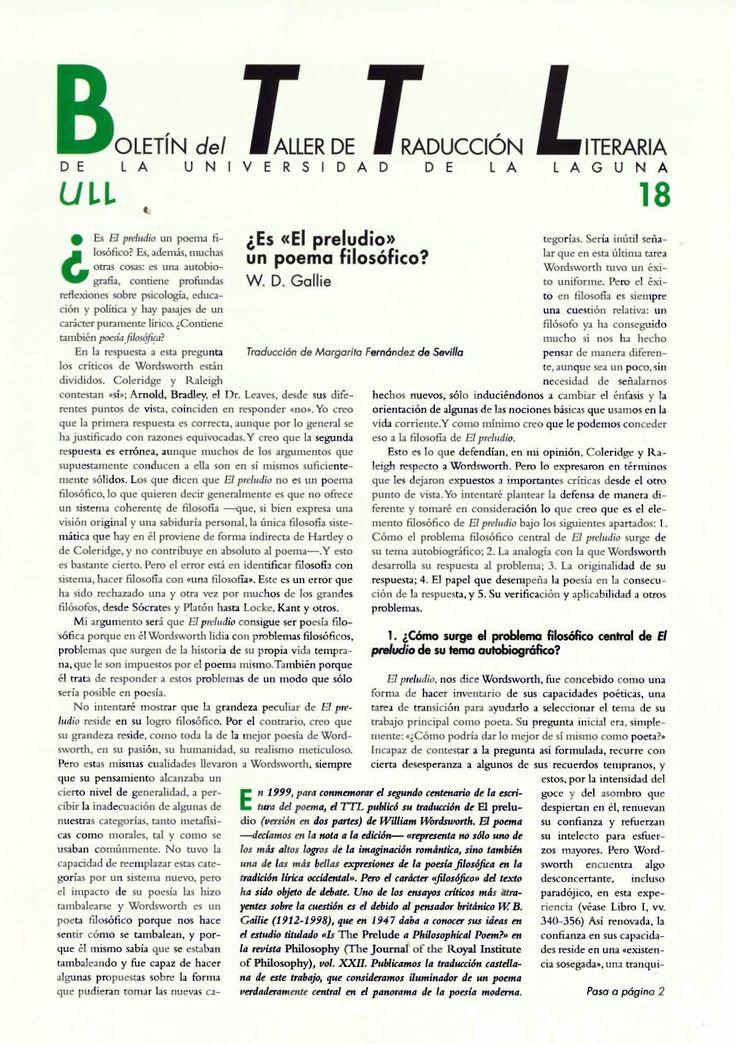 Boletín del Taller de Traducción Literaria de la Universidad de La Laguna nº 18 / coordinación de Andrés Sánchez Robayna y Jesús Díaz Armas. -- N.1(otoño 2011)-. -- La Laguna : Taller de Traducción Literaria de la Universidad de La Laguna, 2011-     (Cuatrimestral) .--- http://absysnetweb.bbtk.ull.es/cgi-bin/abnetopac01?TITN=467146