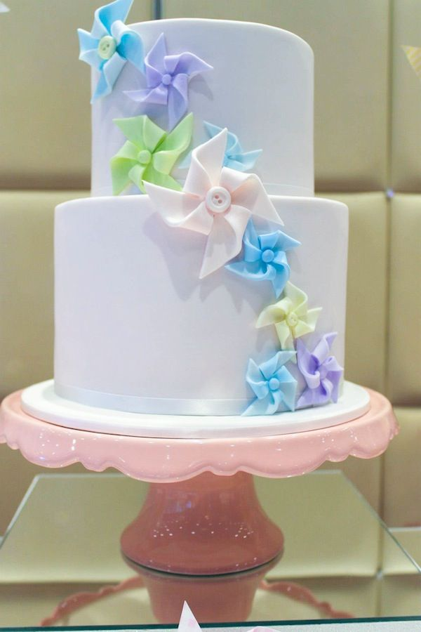 Pinwheel themed 1st birthday party christening idea cake cupcakes supplies