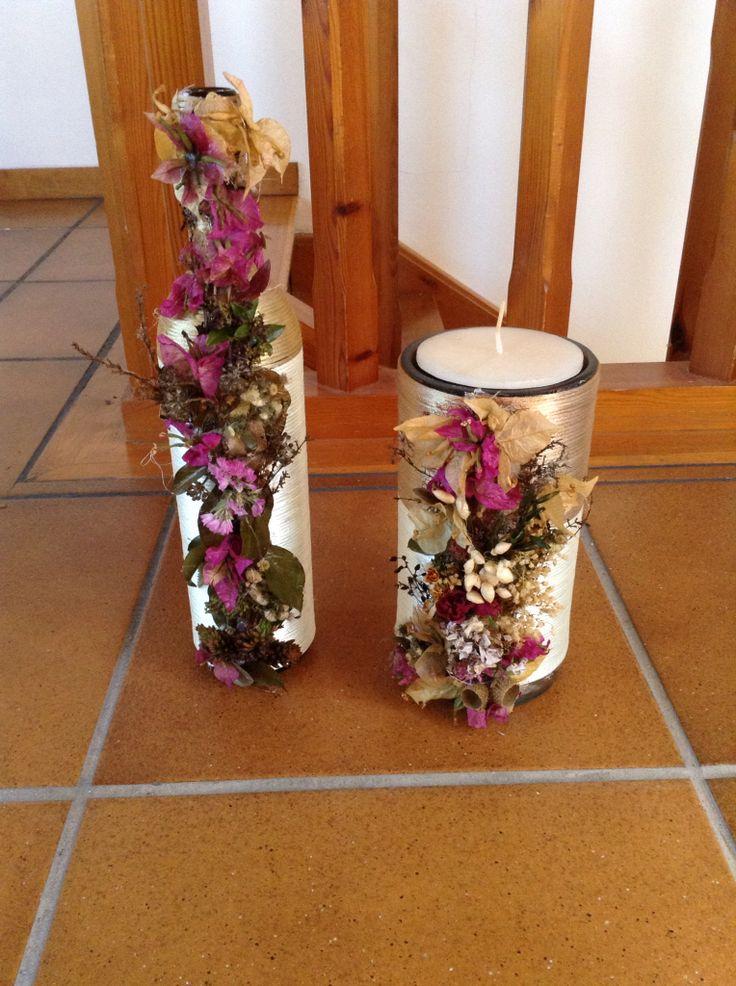 Mejores 49 im genes de botellas y tarros decorados con - Decoracion con flores secas ...