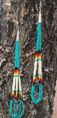 Native American Made Quill Beaded Earrings by GreenKnobsBoutique