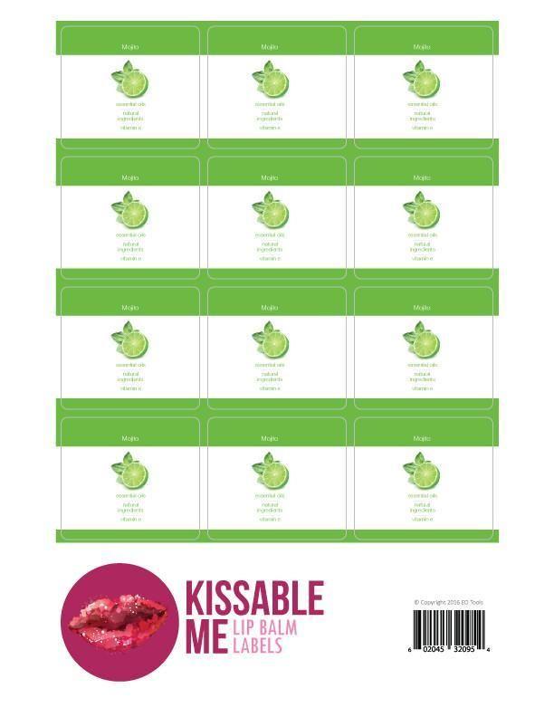 Kissable Me Mojito Lip Balm Label Sheet