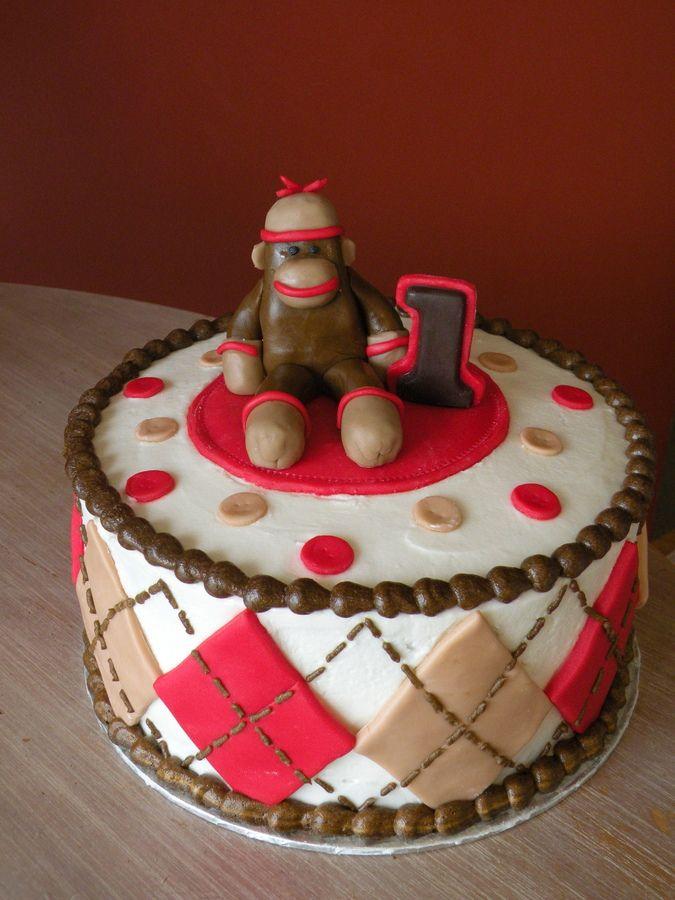 Sock+Monkey+Birthday | sock monkey 1st birthday cake