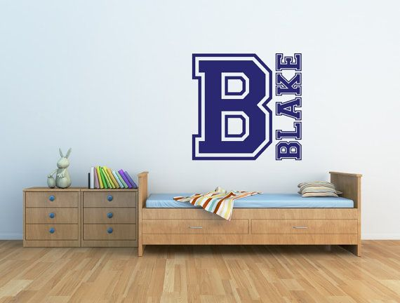 Sports Name Wall Decal Decor Personalized Monogram Boys Nursery