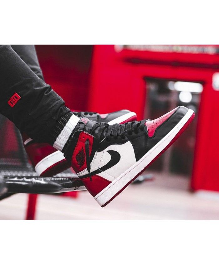 faa37b34fa7628 Nike Air Jordan 1 High Retro Og Bred Toe Black Red White Trainer UK ...