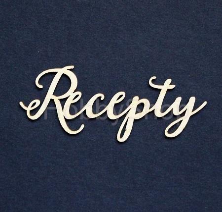 Výrez z lepenky - nápis Recepty