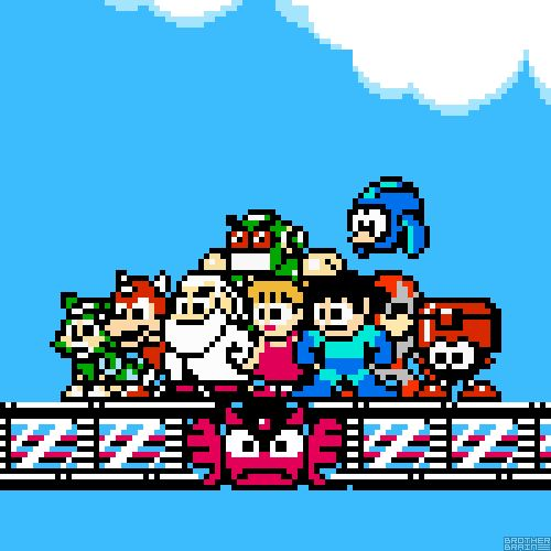 Mega Family by Brother Brain ★ Tango, Rush, Dr. Light, Auto, Roll, Mega Man, Beat, Proto Man, and Eddie.Mega Man (NES) Capcom 1987.Mega Man ...