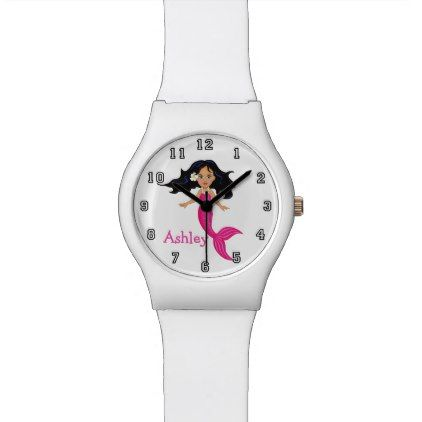 Cute Funny Cartoon Mermaid Personalized Wrist Watch - teenager birthday gift idea present teens party