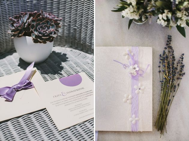 Lavender Inspired Stationary, Invitations and Guest Book, Wedding By Stella And Moscha, Photo by Thanos Asfis Weddings in Greece