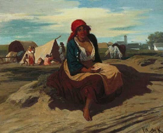 Hungarian painter Lotz Karoly (1833-1904) : Kartyajos