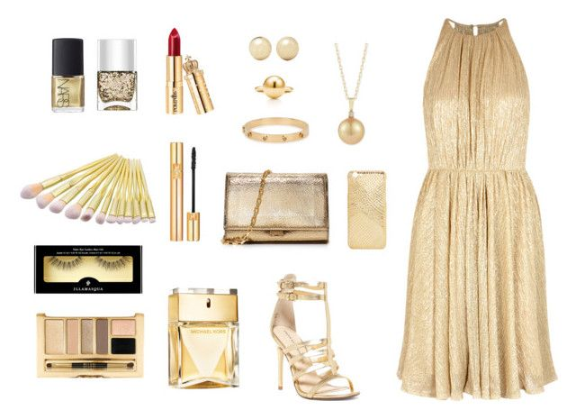 """gold"" by zinasalaitah ❤ liked on Polyvore featuring Halston Heritage, Chinese Laundry, Kenneth Jay Lane, Tory Burch, Michael Kors, Yves Saint Laurent, Illamasqua, Nails Inc. and NARS Cosmetics"